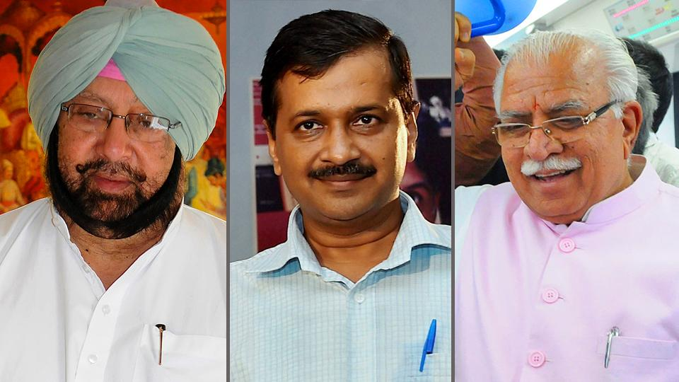 Punjab CM Amarinder Singh (left), Delhi CM Arvind Kejriwal (centre), and Haryana CM Manohar Lal Khattar (right).