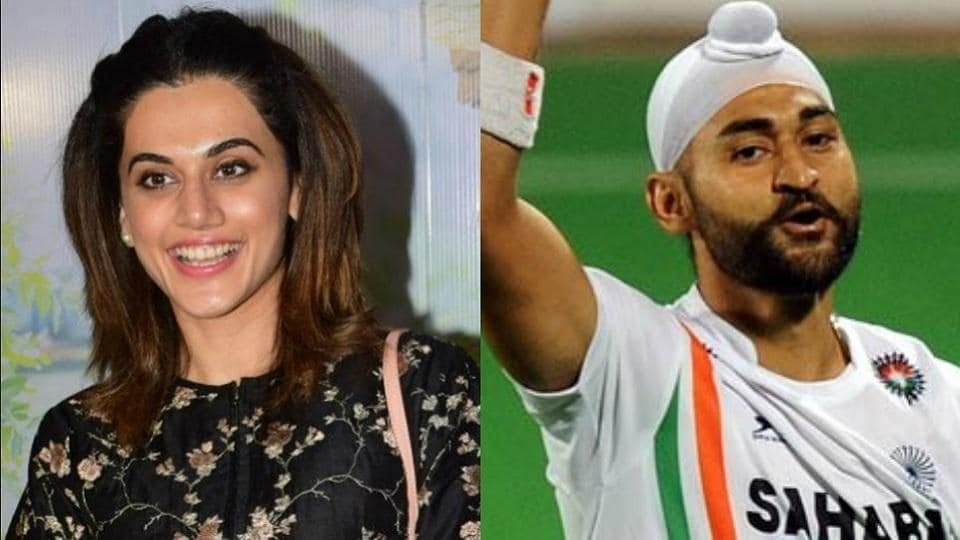 Taapsee Pannu (L) will work with Diljit Dosanjh in an upcoming biopic on former Indian hocket team captain Sandeep Singh (R).