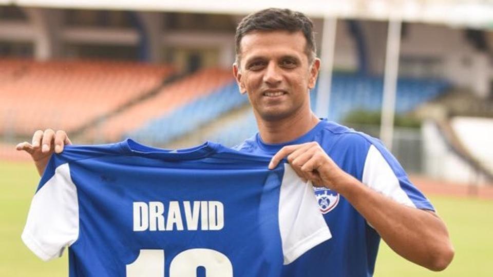 Rahul Dravid sports a Bengaluru FC jersey bearing his surname.