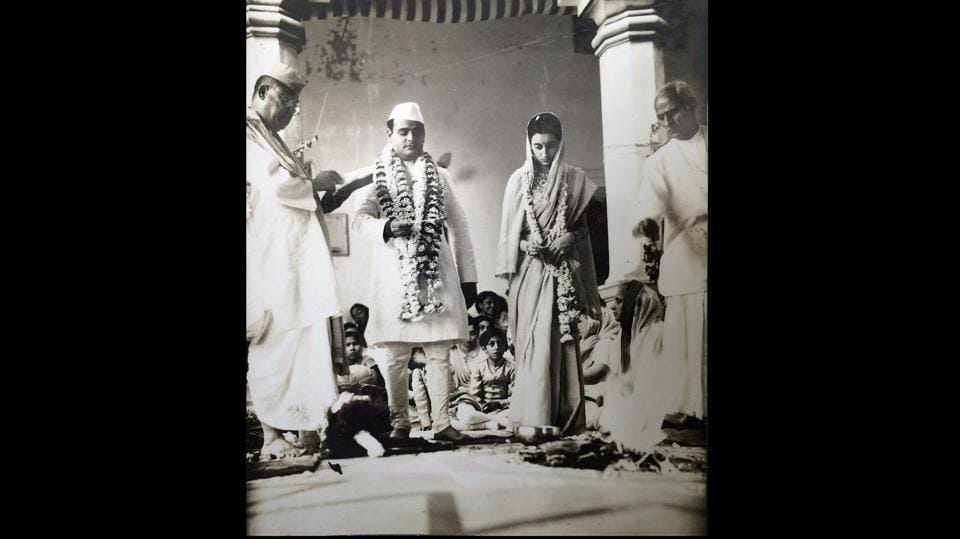 Indira Gandhi and Feroze Gandhi on their wedding day at Anand Bhavan, 1942. Interestingly, in 1984, another photograph from the wedding was produced in court to show that the ceremony followed Hindu, and not Parsi, rituals. (Courtesy Indira Gandhi Memorial Trust Archive)