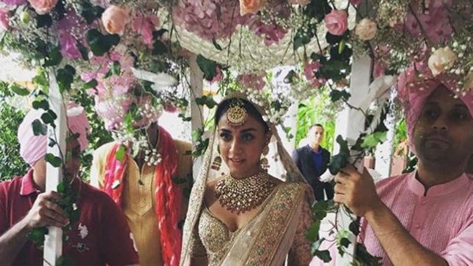 Amrita Puri during her destination wedding in Bangkok.