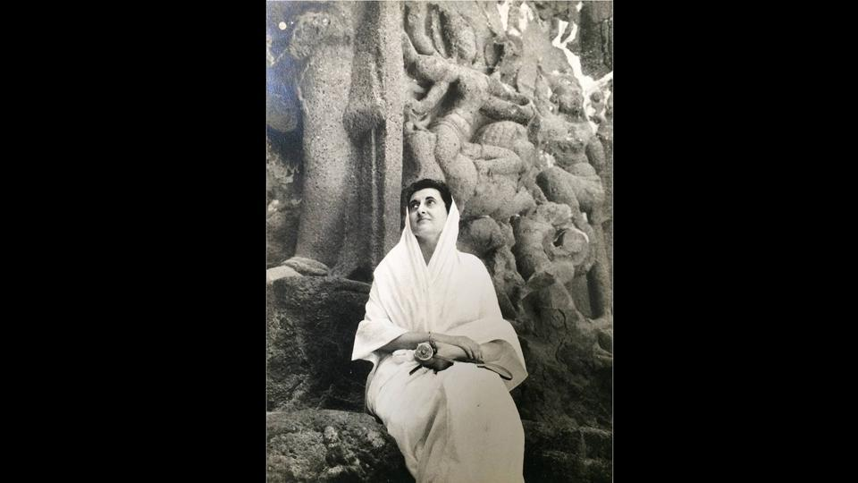 Photographed by Rajiv Gandhi, shortly after Feroze Gandhi's death, Indira Gandhi is seen here at the famous Ellora caves in Aurangabad, circa 1961. (Courtesy Indira Gandhi Memorial Trust Archive)