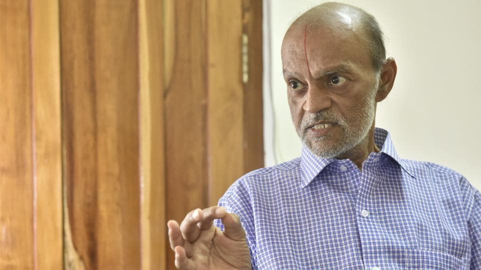 "Sampath Kumar, Iyengar's son is the current owner of Sudharma. Besides Sudharma, the press also prints bank forms, wedding cards and bill books. ""Whatever we earn from our printing press goes into the paper. I promised my father the paper will go on even after he goes. I've kept my word,"" says Kumar. (Arijit Sen / HT Photo)"
