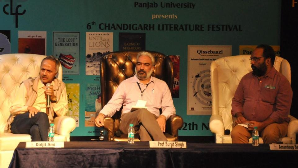 (From left) Filmmaker Daljit Ami, Prof Surjit Singh and writer Amandeep Sandhu during a session on Sunday.