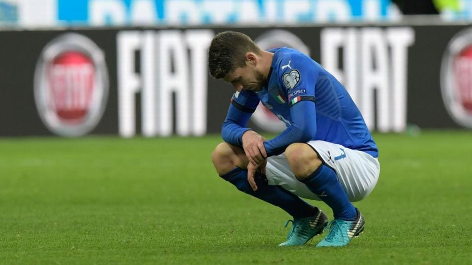 Italy's midfielder Jorginho reacts after their loss against Sweden. (AFP)