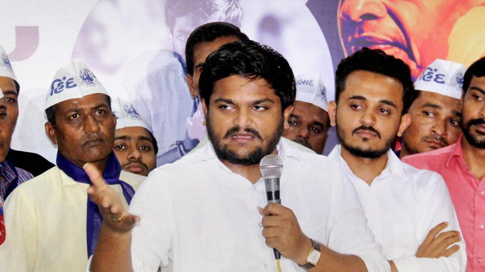 Patidar leader Hardik Patel interacts with people during an event in Ahmedabad.