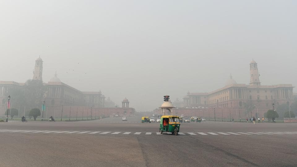 Thick smog seen near Raisina Hill in New Delhi. The city has seen a spike in pollution levels.