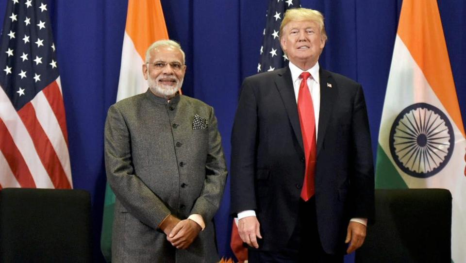 Prime Minister Narendra Modi with US President Donald Trump in Manila, Philippines, on Monday.