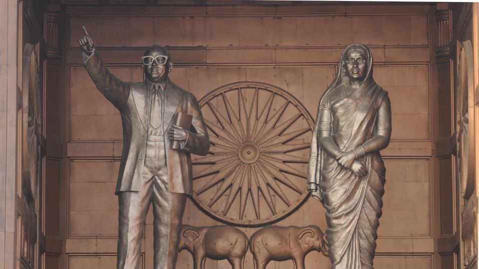 Statue of Dr Bhimrao Ambedkar and Ramabai Ambedkar at Samajik Parivartan Sthal in Lucknow.