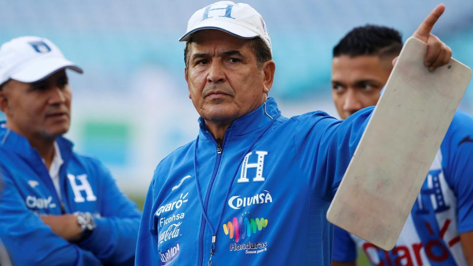 Honduras coach Jorge Luis Pinto gestures during a training session ahead of their FIFA World Cup playoff against Australia.