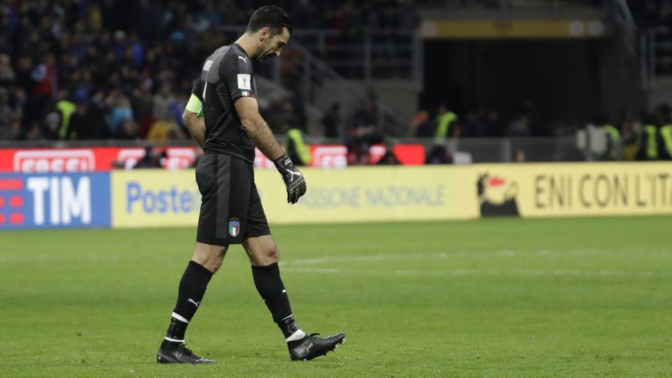 Italy goalkeeper Gianluigi Buffon walks away after FIFAWorld Cup play-off loss against Sweden. (AP)