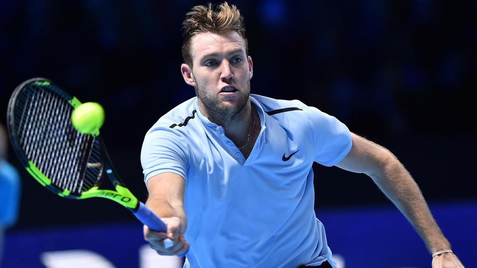 USA's Jack Sock returns against Croatia's Marin Cilic during their men's singles round-robin match on day three of the ATP World Tour Finals in London.