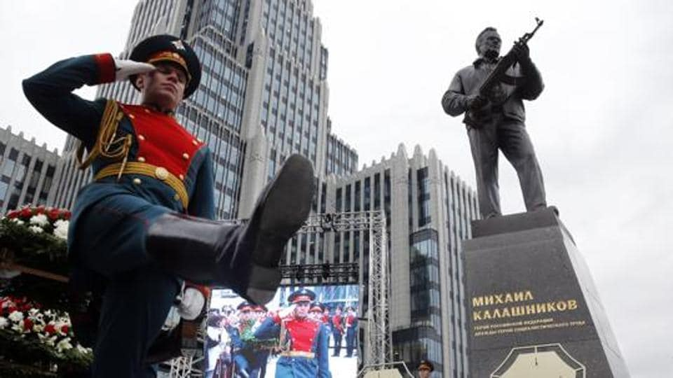 Guards march during a ceremony in Moscow. A slew of fake bomb threats has affected dozens of Russian cities.
