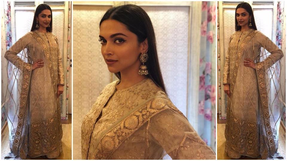 Actor Deepika Padukone's breathtaking, practically ethereal, cream and gold kurta-lehenga set had tradition written all over it.
