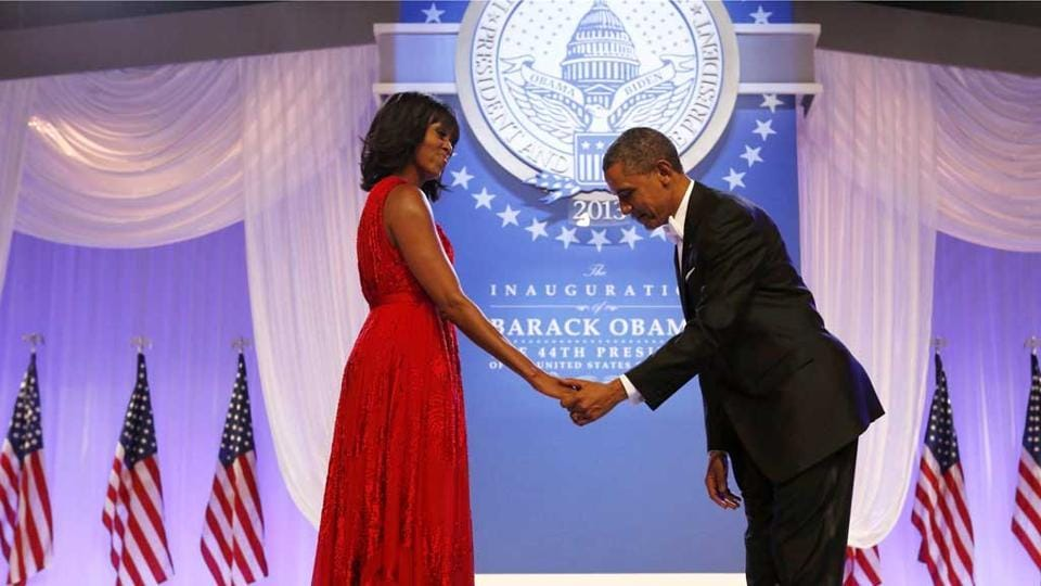 Barack Obama bows to Michelle at the Inaugural ball in Washington. (Reuters File Photo)