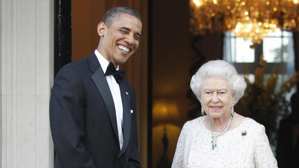 Former president Barack Obama and first lady Michelle Obama welcome Britain's Queen Elizabeth II and Prince Philip for a reciprocal dinner at Winfield House in London. Obama has gone the extra mile to deliver 90th birthday greetings to Queen Elizabeth II. (AP File Photo)