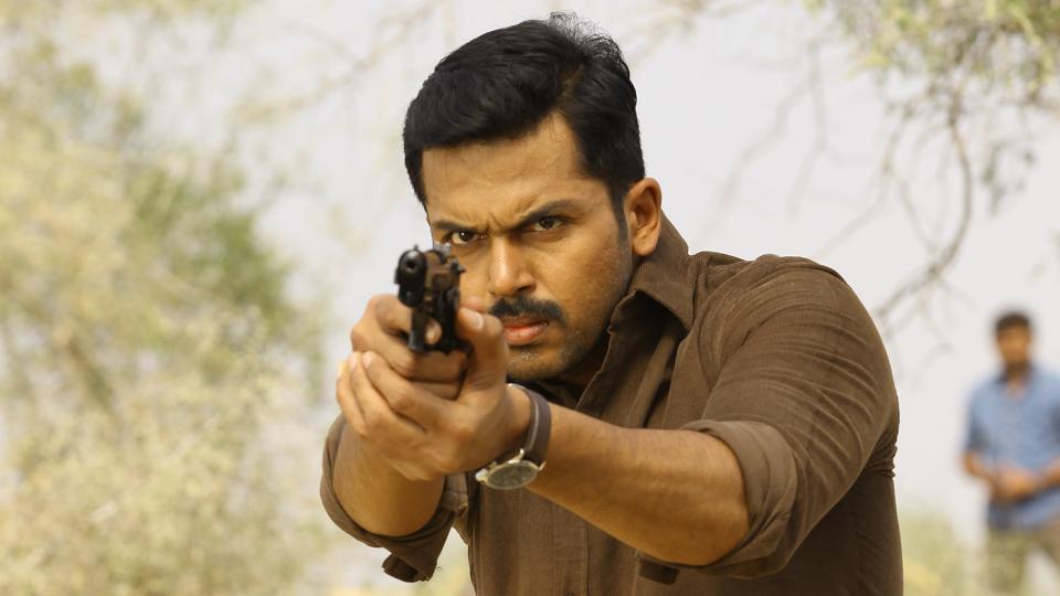 Karthi in a still from the upcoming Tamil film Theeran Adhigaaram Ondru.