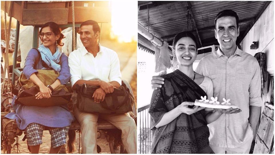 Sonam Kapoor and Radhika Apte with Akshay Kumar in Padman.