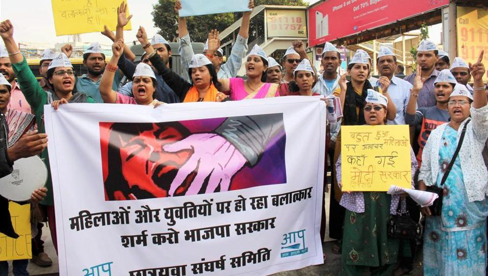 Aam Aadmi Party Mahila Shakti activists stage a protest against the alleged gang rape of a student in Bhopal.
