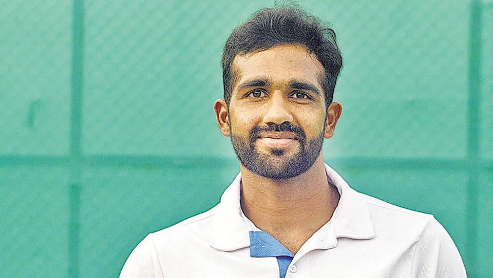 Tennis player Arjun Kadhe at the ongoing ATP Challenger tournament at the Shiv Chhatrapati Sports Complex, Balewadi in Pune