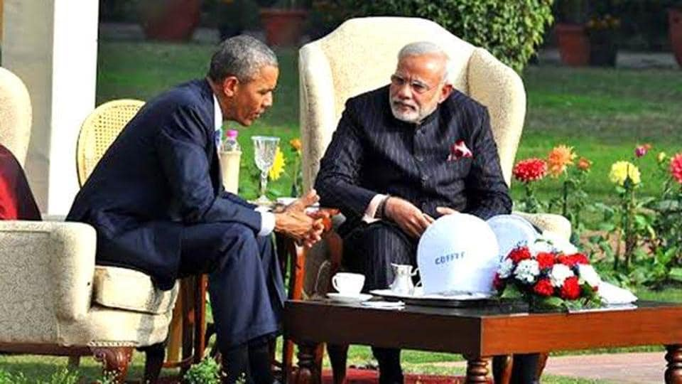 Prime Minister Narendra Modi and US President Barack Obama at the Hyderabad House in New Delhi.  (PIB Photo)