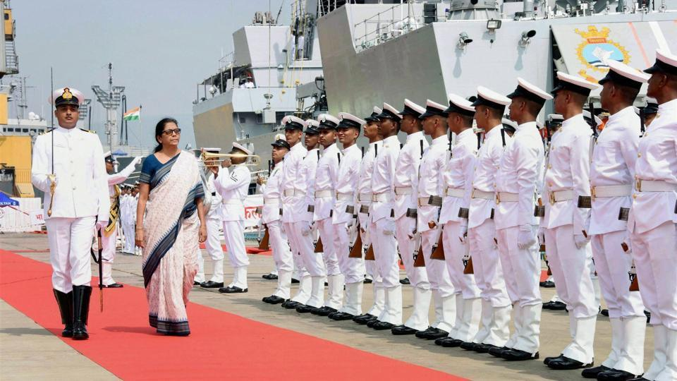 Defence minister Nirmala Sitharaman inspecting the Guard of Honour at the commissioning ceremony of INS Kiltan, Naval Dockyard, Visakhapatnam, October 16 (Representative Photo)