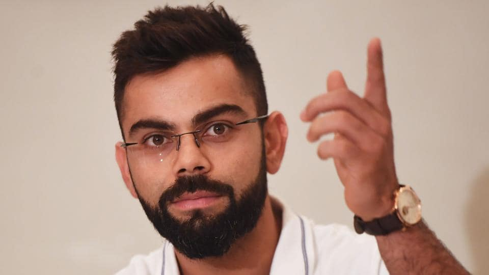 India captain Virat Kohli gestures while talking to the press in Kolkata on the eve of the first Test. (AFP)
