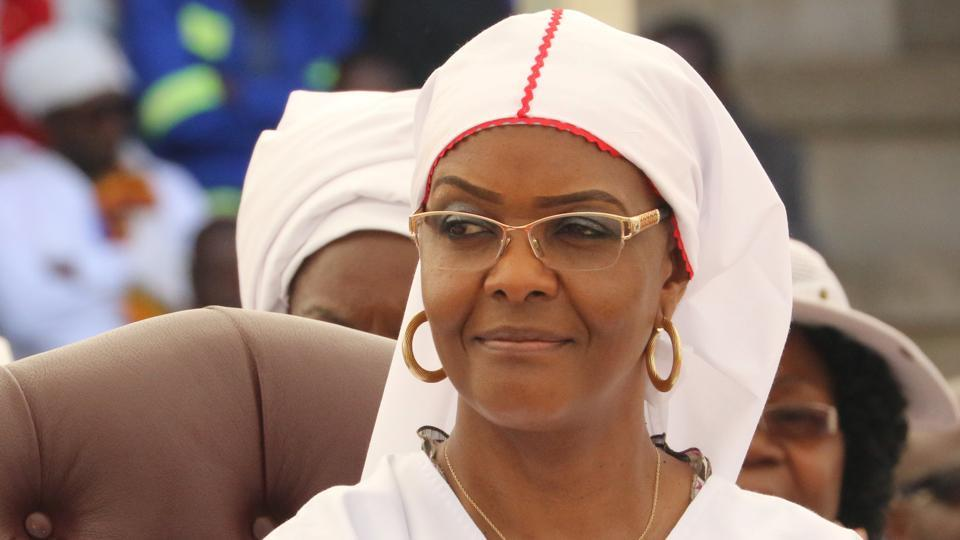 President Robert Mugabe's wife Grace Mugabe looks on during a national church interface rally in Harare, Zimbabwe.