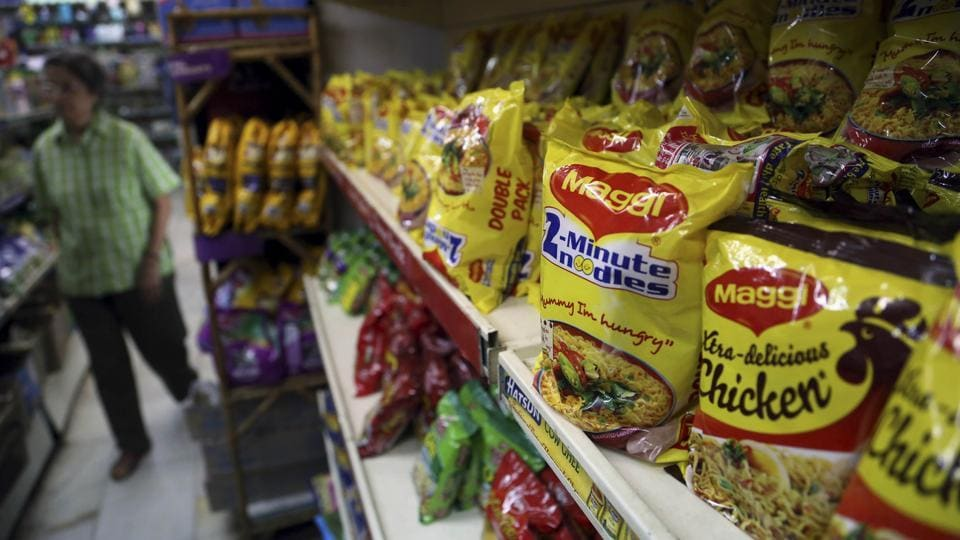 Packages of Nestle's Maggi were displayed at a grocery store in Bangalore, India, in June.