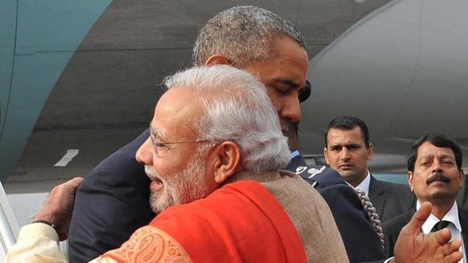 Barack Obama and Prime Minister Narendra Modi hug during the US President's visit to India. (AFP File photo)