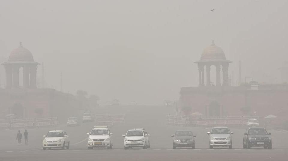 Dense smog seen near at Raisina Hill in New Delhi. The NGT said diesel vehicles more than 10 years old must be taken off the roads.