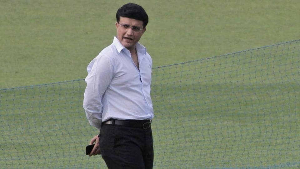 Former Indian cricket captain and president of Cricket Association of Bengal (CAB) Sourav Ganguly inspects the pitch. (AP)