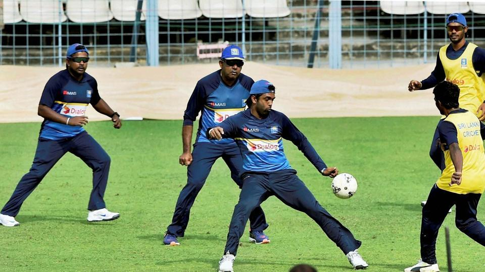Sri Lankan cricketers play soccer during a training session at the Eden Gardens.  (PTI)