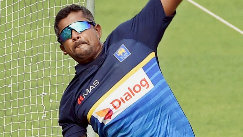 Rangana Herath in action during a training session at the Eden Gardens in Kolkata.  (PTI)