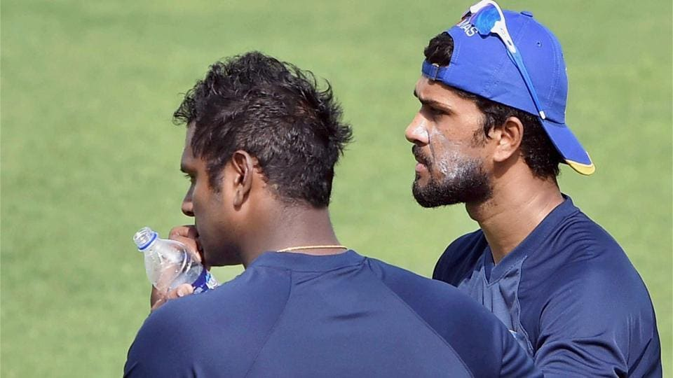 Sri Lanka cricketers Angelo Mathews and Dinesh Chandimal during a training session ahead of their first Test against India.