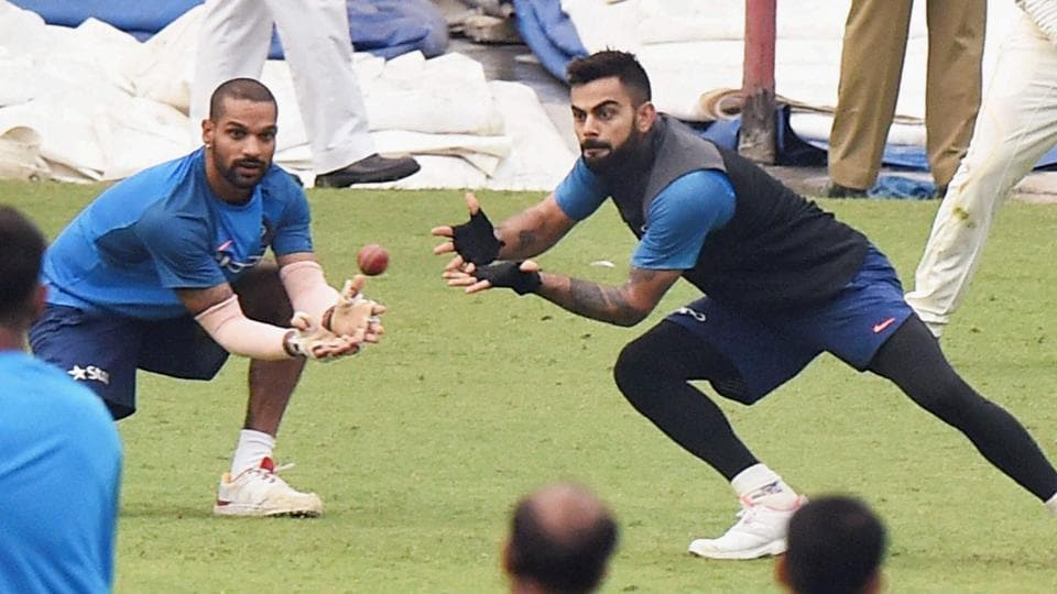 Though the practice sessions were cancelled on Wednesday due to rain, the Indian cricket team toiled hard on Tuesday. Seen here are captain Virat Kohli and Shikhar Dhawan during a training session at Eden Gardens. (PTI)