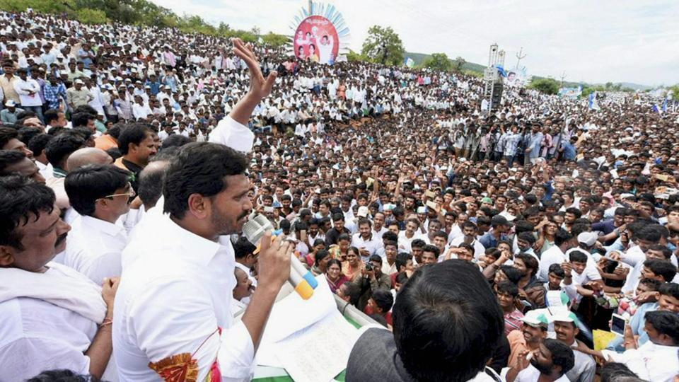 YSR Congress chief YS Jaganmohan Reddy addresses a public meeting in Cuddapa district on Monday.