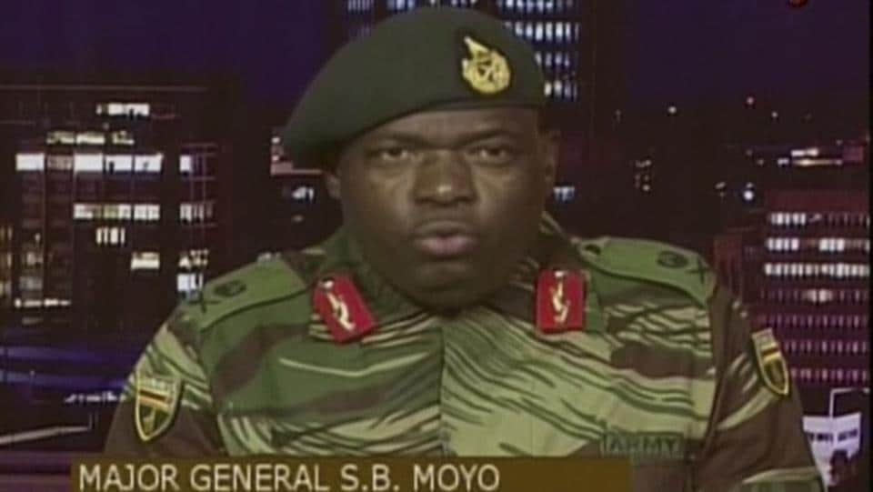 "The army said in a statement after taking over the state broadcaster that it was not a coup, with Major General Sibusiso Moyo denying targeting the 93-year-old Mugabe. ""It is not a military takeover of government,"" Moyo said, adding: ""We wish to assure the nation that his excellency the president... and his family are safe and sound and their security is guaranteed."" (ZBC via AP)"