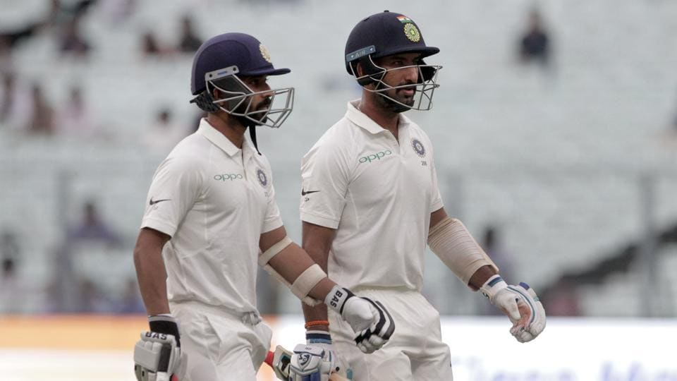 Cheteshwar Pujara was unbeaten on eight while Ajinkya Rahane is yet to open his account. (AP)