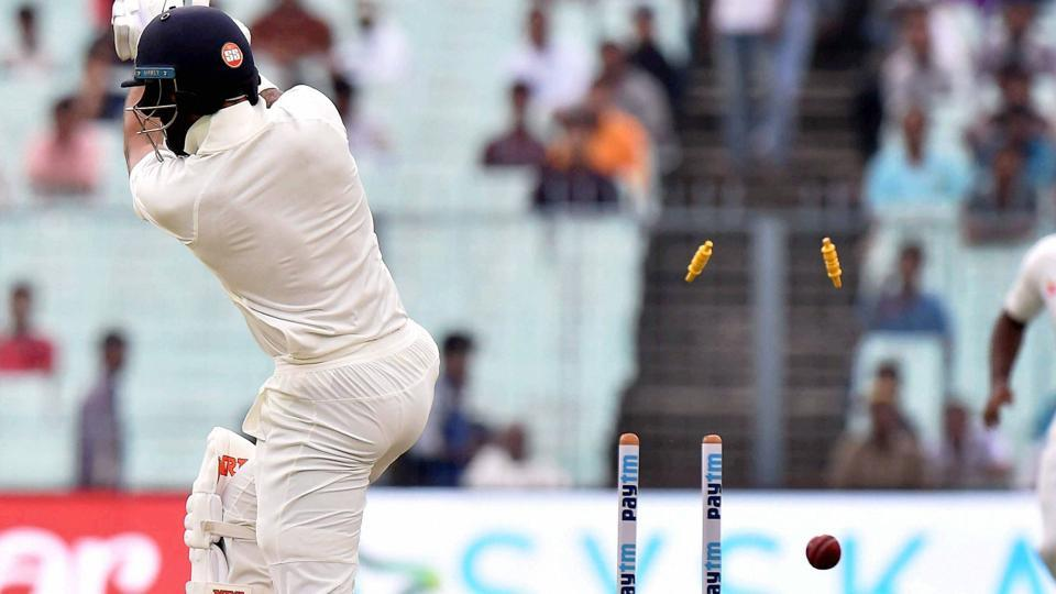 Shikhar Dhawan hit Lahiru Gamage for a boundary but threw away his wicket playing a rash drive, dragging a Lakmal delivery on to his stumps.  (PTI)