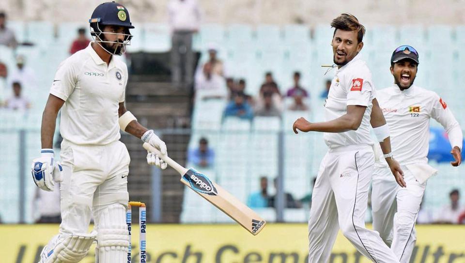 Sri Lankan bowler Suranga Lakmal celebrates after dismissing K L Rahul on the first day of the first Test match at Eden Gardens in Kolkata. Lakmal's spell was praised by both Sanjay Bangar and SL bowling coach Rumesh Ratnayake.