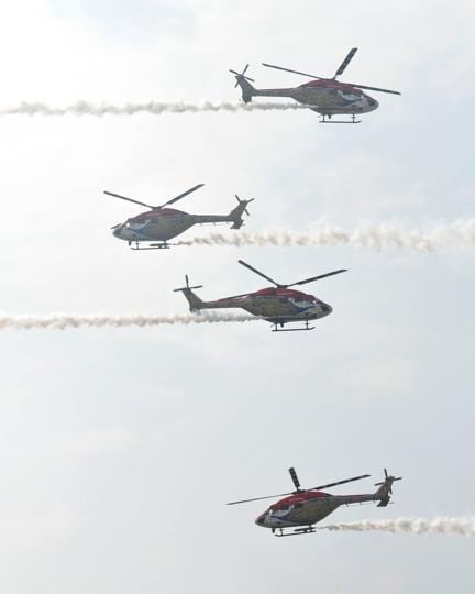 Sarang helicopters during aerobatic display at Adampur air force station near Jalandhar. (Pardeep Pandit/ht)