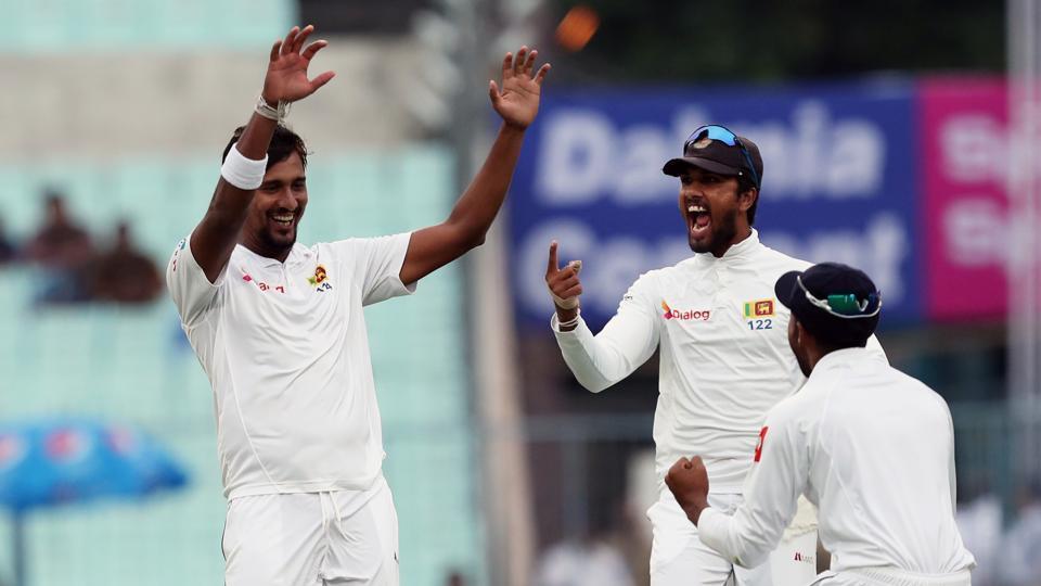 Suranga Lakma picked up 3/0, including Indian cricket team skipper Virat Kohli for 0 as Sri Lanka got off to a great start on a rain-hit day at Eden Gardens Kolkata.