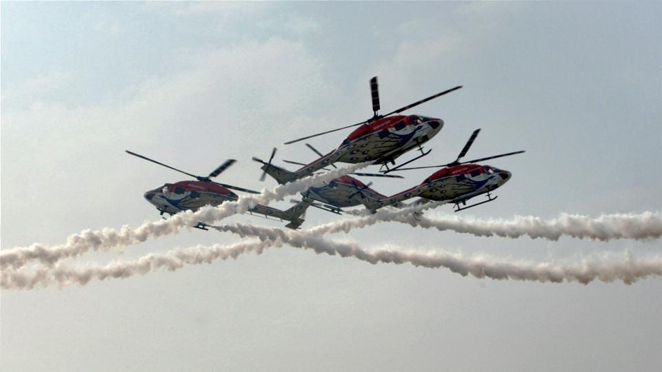 Sarang helicopters during an aerobatic display at the Adampur air force station near Jalandhar on November 16. (PTI)