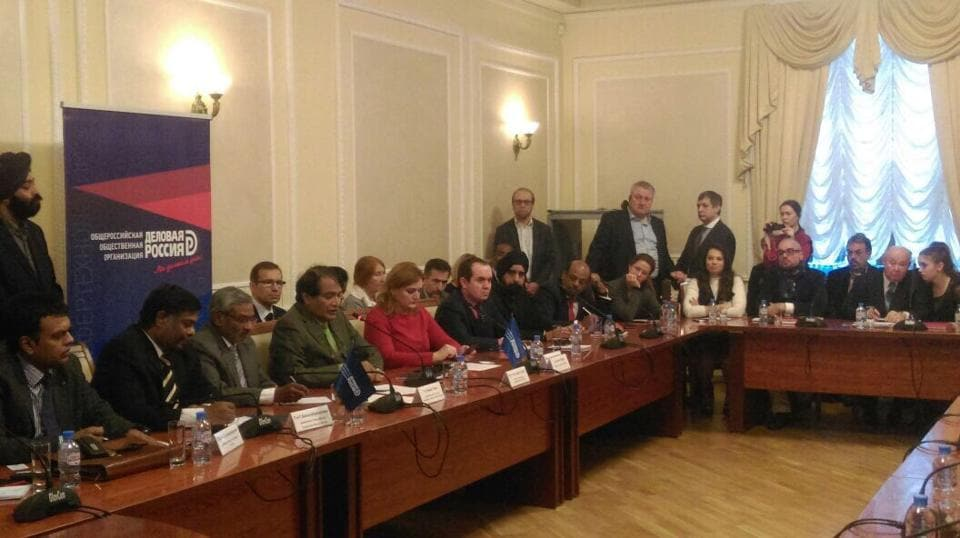 Commerce and industry minister Suresh Prabhu at the business roundtable with Russian and Indian Business community in Moscow.
