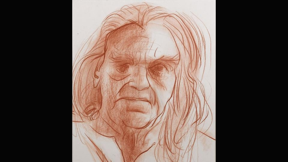 B.K.S. Iyengar, the founder of 'Iyengar Yoga,' 2014. The show has almost 500 works in oils, watercolour, ink and conté. (Jatin Das)