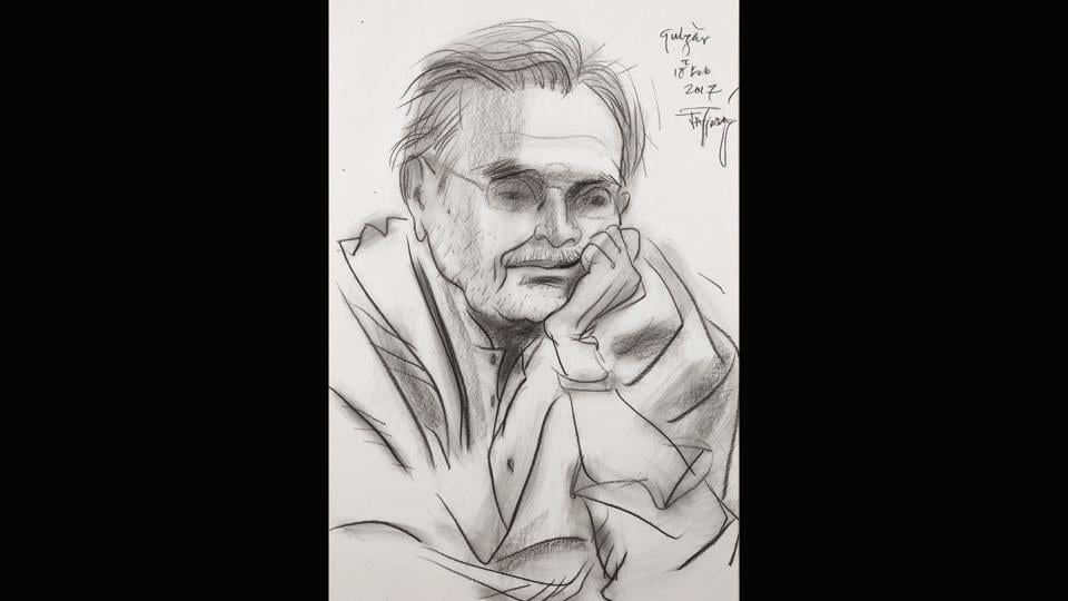 Sampooran Singh Kalra (born 18 August 1934), known popularly by his pen name Gulzar by Jatin Das, 2017. 'Wherever I went, whether it was a concert or an exhibition, I sketched,' says Das.  (Jatin Das)