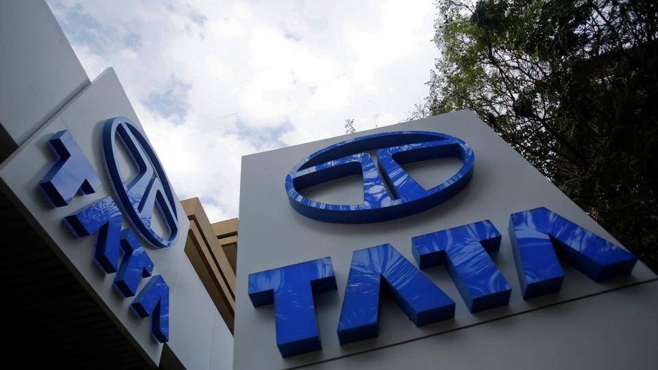 Tata Motors logos are seen at their flagship showroom in Mumba.