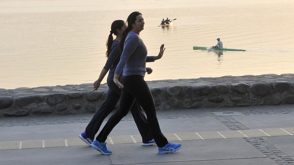 Morning walkers in action at Sukhna Lake. (Karun Sharma/HT)