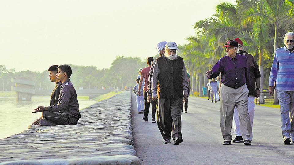 People meditating and senior citizens (right) walking early morning at Sukhna Lake on Thursday. (Karun Sharma/HT)